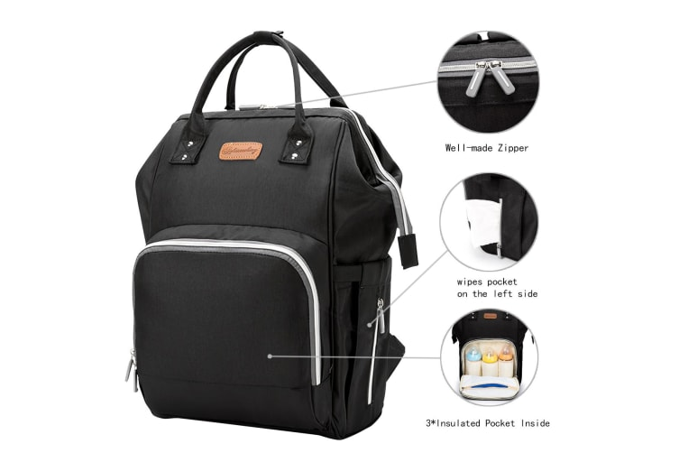 Multipurpose Baby Bag Diaper Nappy Backpack for Mummy in Black