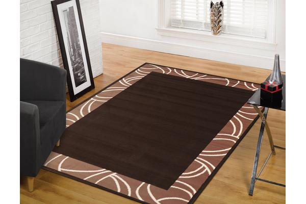 Modern Border Rug - Brown 280x190cm