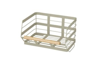 Pantry Stackable Storage Basket w/ Wooden Trim