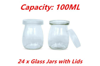 100ML 24pcs Glass Pudding Jars Glass Jars for Yogurt Milk Parfait with Lid Caps