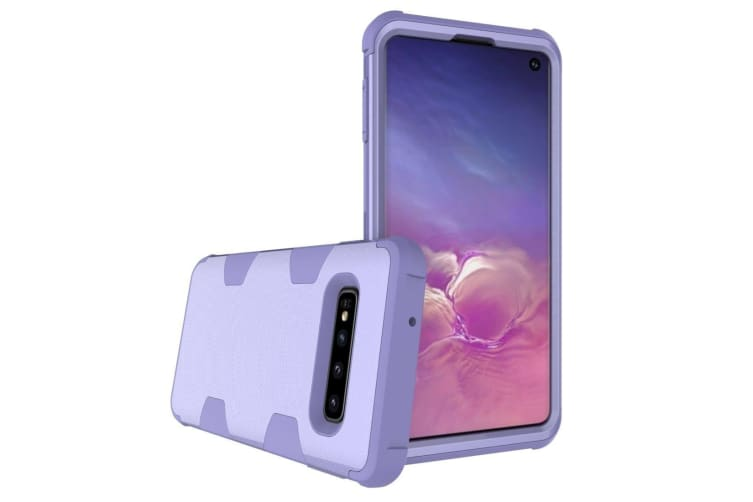 For Samsung Galaxy S10 Case  Purple Armour TPU & PC Shockproof Grip Back Cover