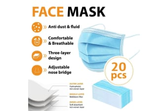 20Pcs Disposable Face Mask Protective Masks 3 layer Meltblown Filter for General Use