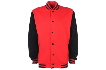 FDM Unisex Varsity / University Jacket (Contrast Sleeves) (Fire Red/Black)