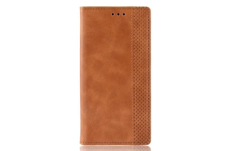 For Samsung Galaxy S10 PLUS Case Retro PU Leather Folio Wallet Cover Brown