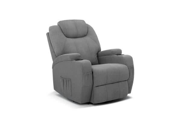 Artiss Massage Sofa Chair Recliner Electric Swivel Fabric Lounge 8 Point Heated