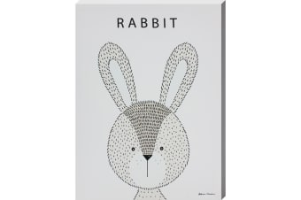 Grindstore Rabbit Canvas Print (Off-White) (One Size)
