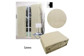 Pair of Faux Linen Blockout Pinch Pleat Curtains Linen by Home Innovations