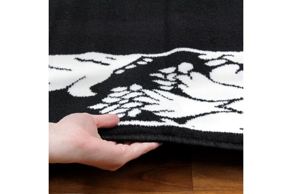 Damask Border Pattern Rug Black White 230x160cm