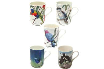 5pc Maxwell and Williams Birds of Australia Coffee Tea Mug Cup 300ML Tableware