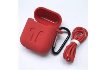 Full Body Protector Silicone Case For Apple Iphone Airpods Red