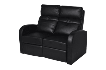 vidaXL Recliner 2-seat Artificial Leather Black