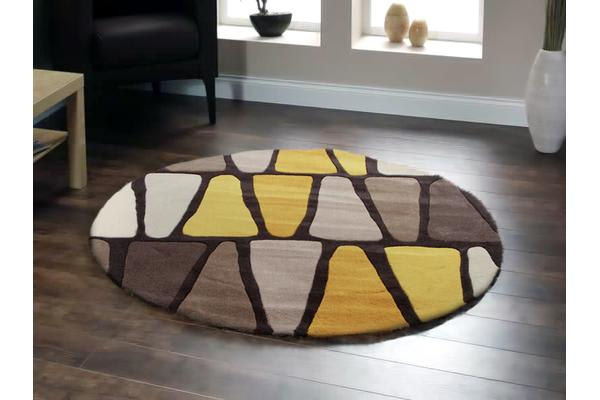 Rock Star Brown And Gold Round Rug 200x200cm