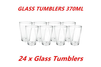 24 x 370ml Clear Glass Tumblers Drinking Cup Scotch Whisky Glasses Party Event