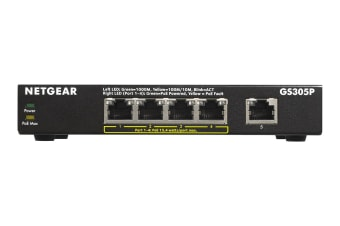 Netgear GS305P Soho 5-port Gigabit Unmanaged Switch with 4-port PoE (GS305P-100AUS)