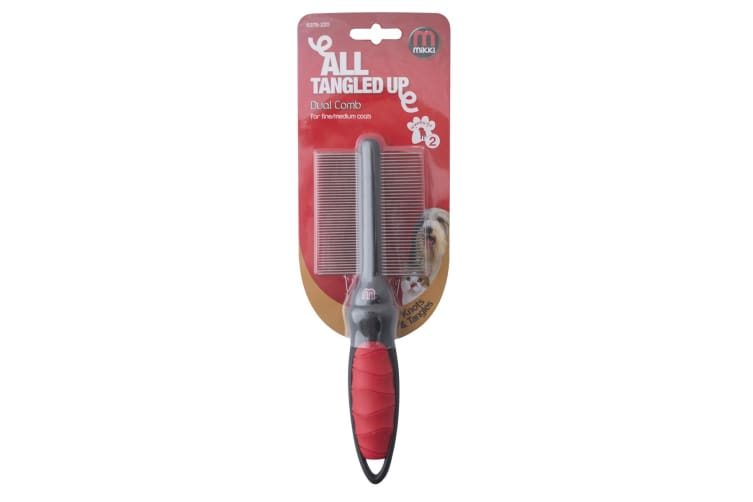 Interpet Limited Mikki Dual Comb Grooming Tool (Red/Black) (Medium/Coarse)