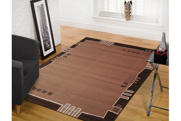 Geometrical Border Rug Beige Brown 230x160cm