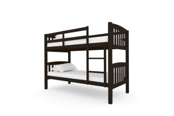 Luxo Dante 2-in-1 Solid Pine Timber Bunk Bed - Cappuccino