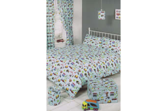 Mucky Fingers Childrens Boy Traffic Design Unlined Curtains With Tiebacks (Blue)