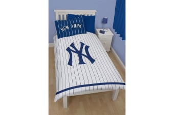 New York Yankees Childrens/Kids Reversible Single Duvet Cover Bedding Set (Blue/White) (Single Bed)