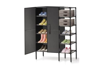 6-Tier Double Door Fabric Shoe Cabinet with Storage Rack