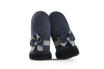 Winter Suede Mittens Thicken Gloves Hanging Lanyard Outdoor Riding Navy C