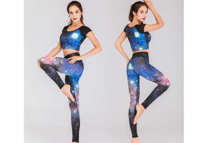 Women'S Yoga High Waist Tummy Tight Pants Short Sleeve Fitness Clothes Suit - 7 S