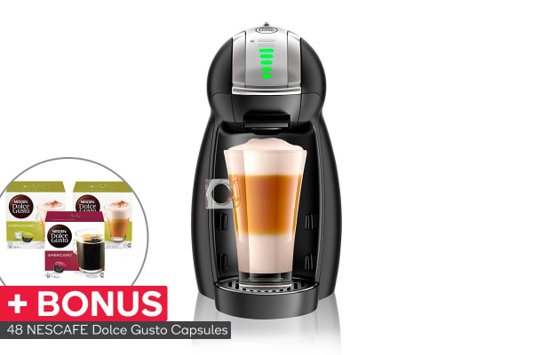 NESCAFE Dolce Gusto Genio 2 Automatic Capsule Coffee Machine with BONUS 48 Capsules - Matte Black (NCU550BLK)