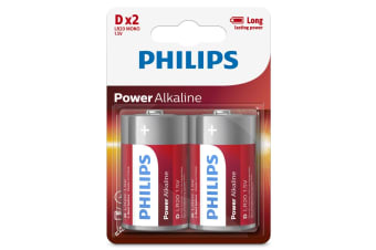 Philips Alkaline Battery 2 x D - 12 Pack