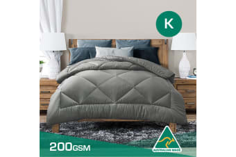 King Size Aus Made Summer Weight Soft Bamboo Blend Quilt Grey Cover