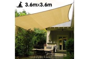Wallaroo Square Shade Sail 3.6m x 3.6m - Sand