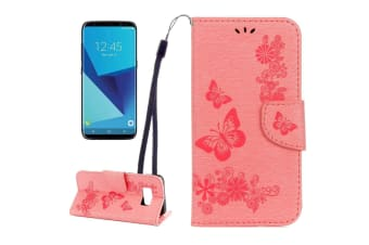 For Samsung Galaxy S8 Wallet Case Fancy Butterflies Embossed Leather Cover Pink