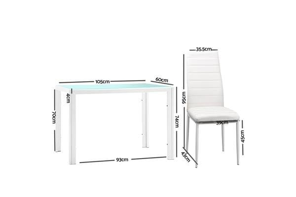 Artiss 5 Piece Dining Table Set (White)