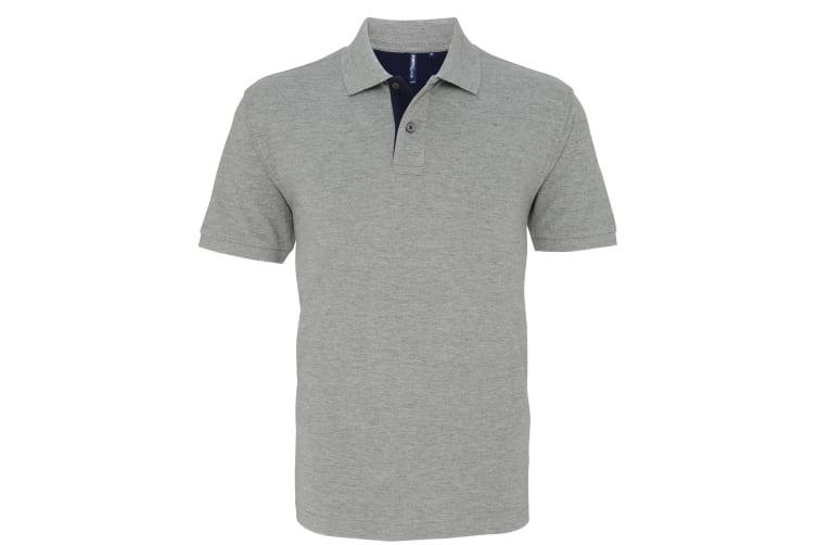 Asquith & Fox Mens Classic Fit Contrast Polo Shirt (Heather/ Navy) (S)