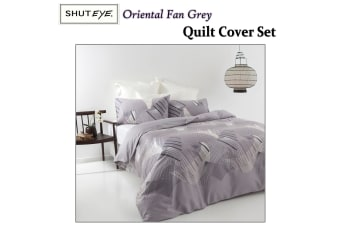 Oriental Fan Grey Quilt Cover Set DOUBLE by Shuteye