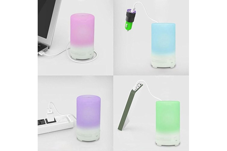 USB Essential Oil Diffuser Portable Cool Mist Aroma Humidifier w/ Color/Lights