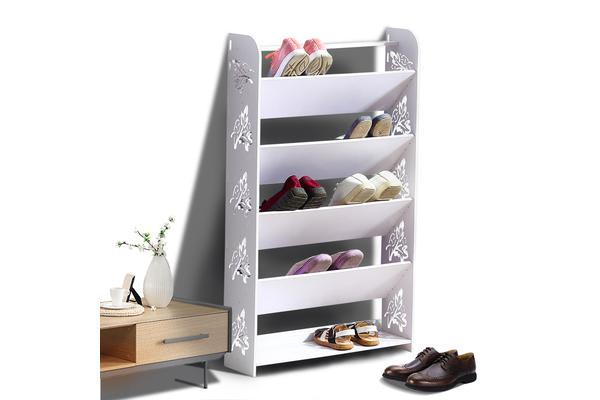 18 Pairs 6 Tiers Tilt White Hollow Shoe Rack