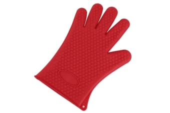 2Pcs Of Silica Gel Gloves Kitchen Five Fingers Baking Insulation Anti-Scalding Gloves Red