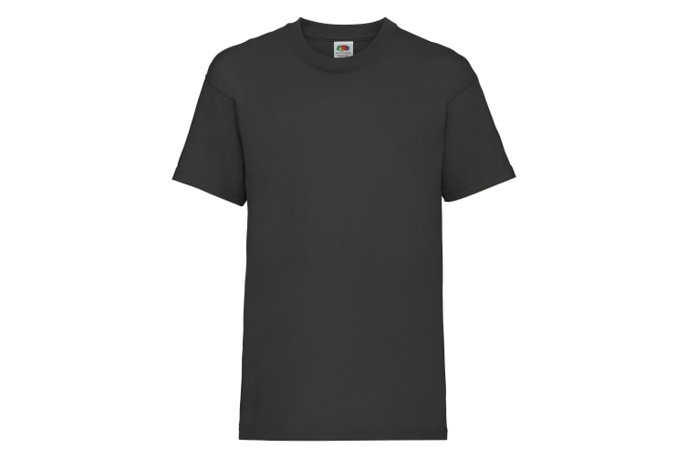 Fruit Of The Loom Childrens/Kids Unisex Valueweight Short Sleeve T-Shirt (Pack of 2) (Black) (12-13)