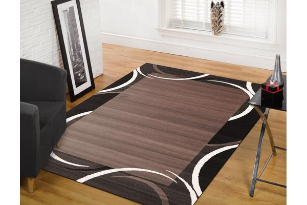 Crescent Border Pattern Rug Black Grey 230x160cm