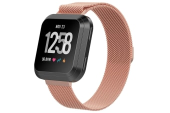 Milanese Loop Metal Replacement Bracelet Strap Wristbands For Fitbit Versa Fitness Smart Watch Rose Gold Small Size