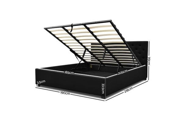 Artiss King Gas Lift Bed Frame (Charcoal)