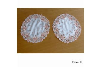 Set of 2 Embroidered Doilies Floral 8