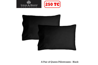A Pair of 250tc Queen Pillowcases Black by Logan and Mason
