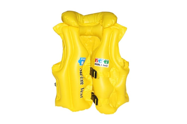 Select Mall PVC Inflatable Swimwear Life Jacket Buoyancy Vest Padded Swimwear Suitable for Children-Yellow M