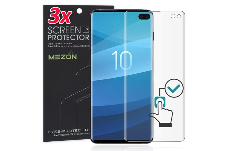 [3 Pack] Samsung Galaxy S10+ Ultra Clear Edge-to-Edge Full Coverage Screen Protector Film by MEZON – Fingerprint Sensor Compatible (S10+, Clear)