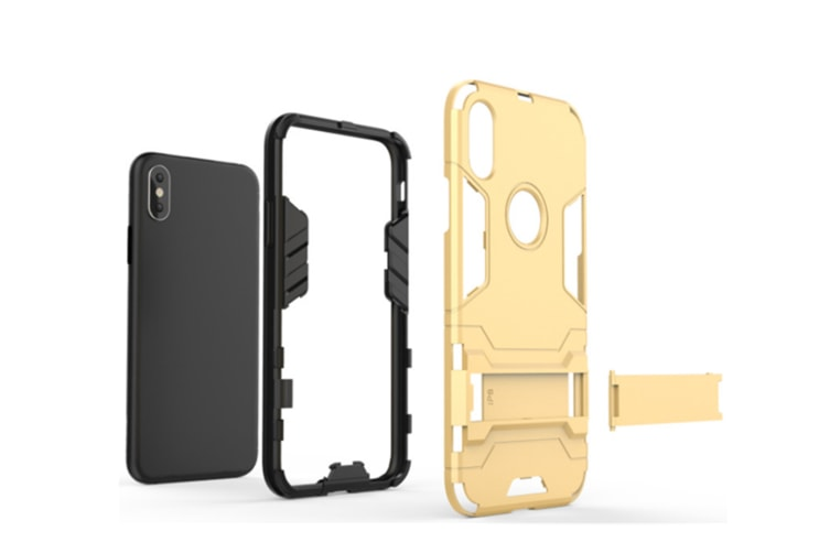 Full-Armoured Protective Case Of Steelman Stealth Bracket Phone Case For Iphone Rose Gold Iphone Xs