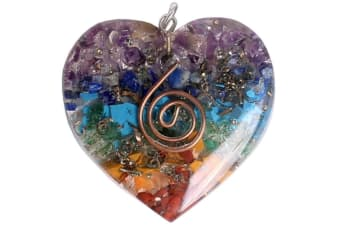Orgonite Pendant 7 Chakra Layered Orgone Gemstone Heart Reiki Spiritual Energy