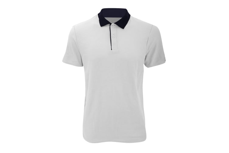 Anvil Mens Fashion Double Pique Plain Polo Shirt (210 GSM) (White/ Navy) (L)