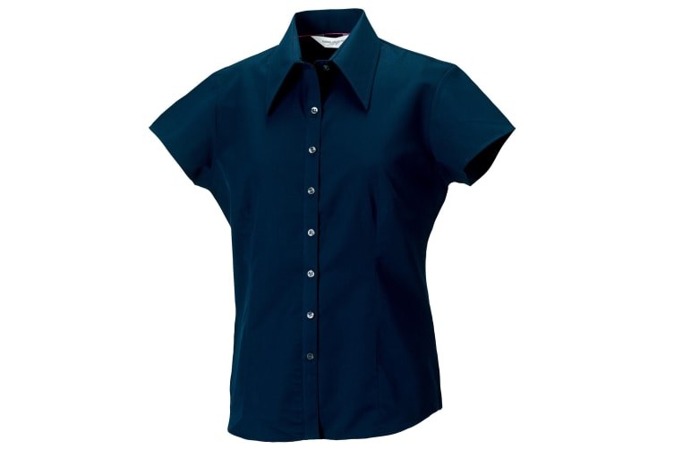Russell Collection Womens/Ladies Short Cap Sleeve Tencel® Fitted Shirt (Navy) (2XL)