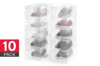 Ovela Clear Foldable Shoe Boxes (10 Pack)
